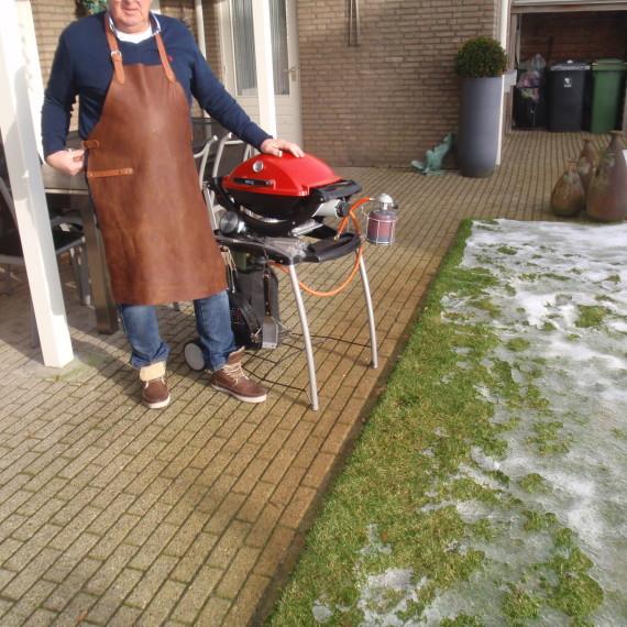 Leren schort cognac www.Koeien-Huid.nl